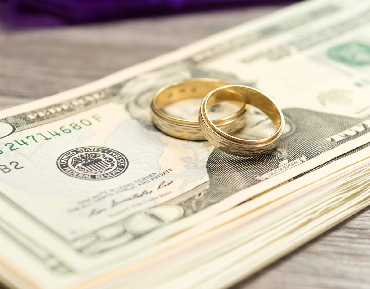 rings sitting on top of money