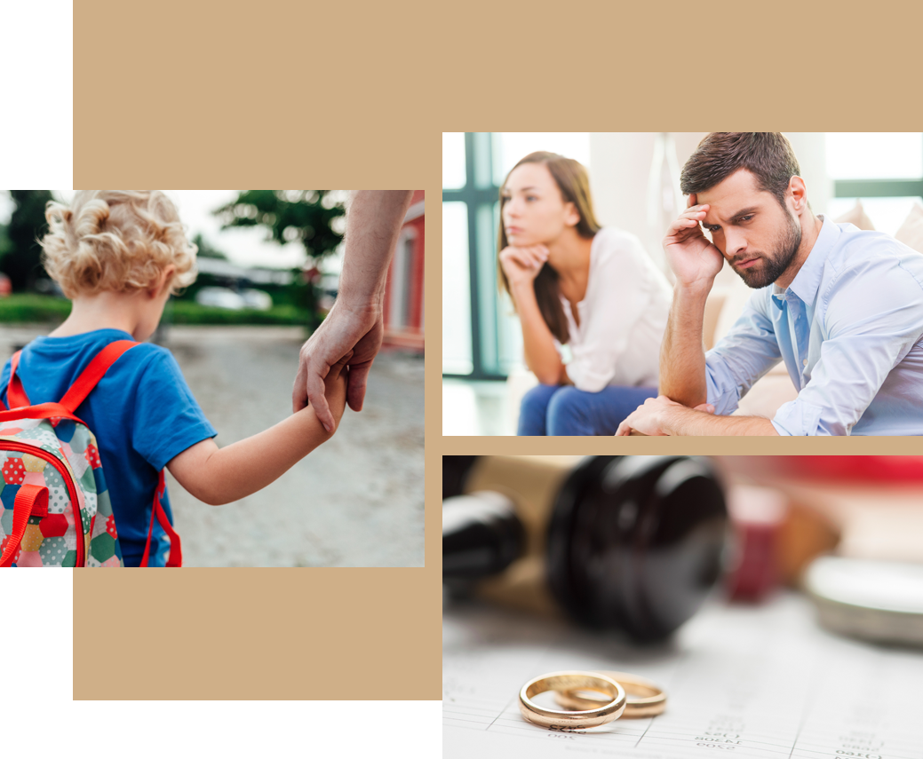 kid holding parents hand and a upset couple fighting and rings and gavel